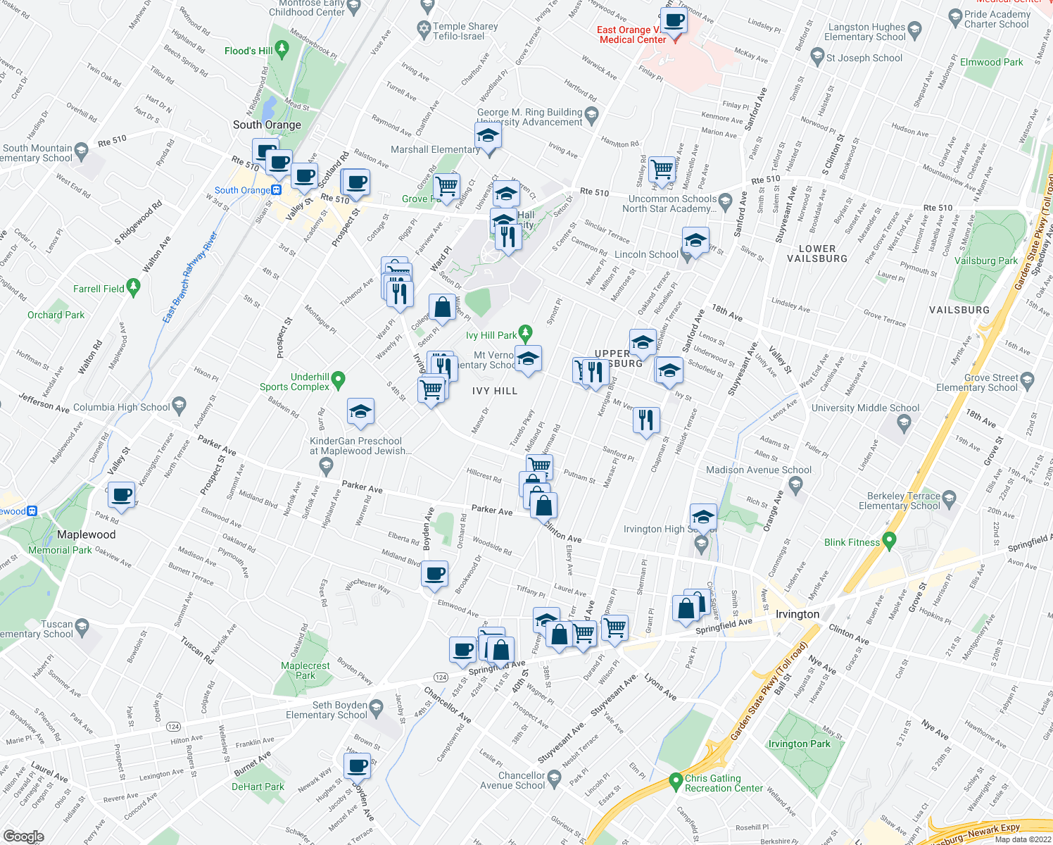 map of restaurants, bars, coffee shops, grocery stores, and more near 176 Tuxedo Parkway in Newark