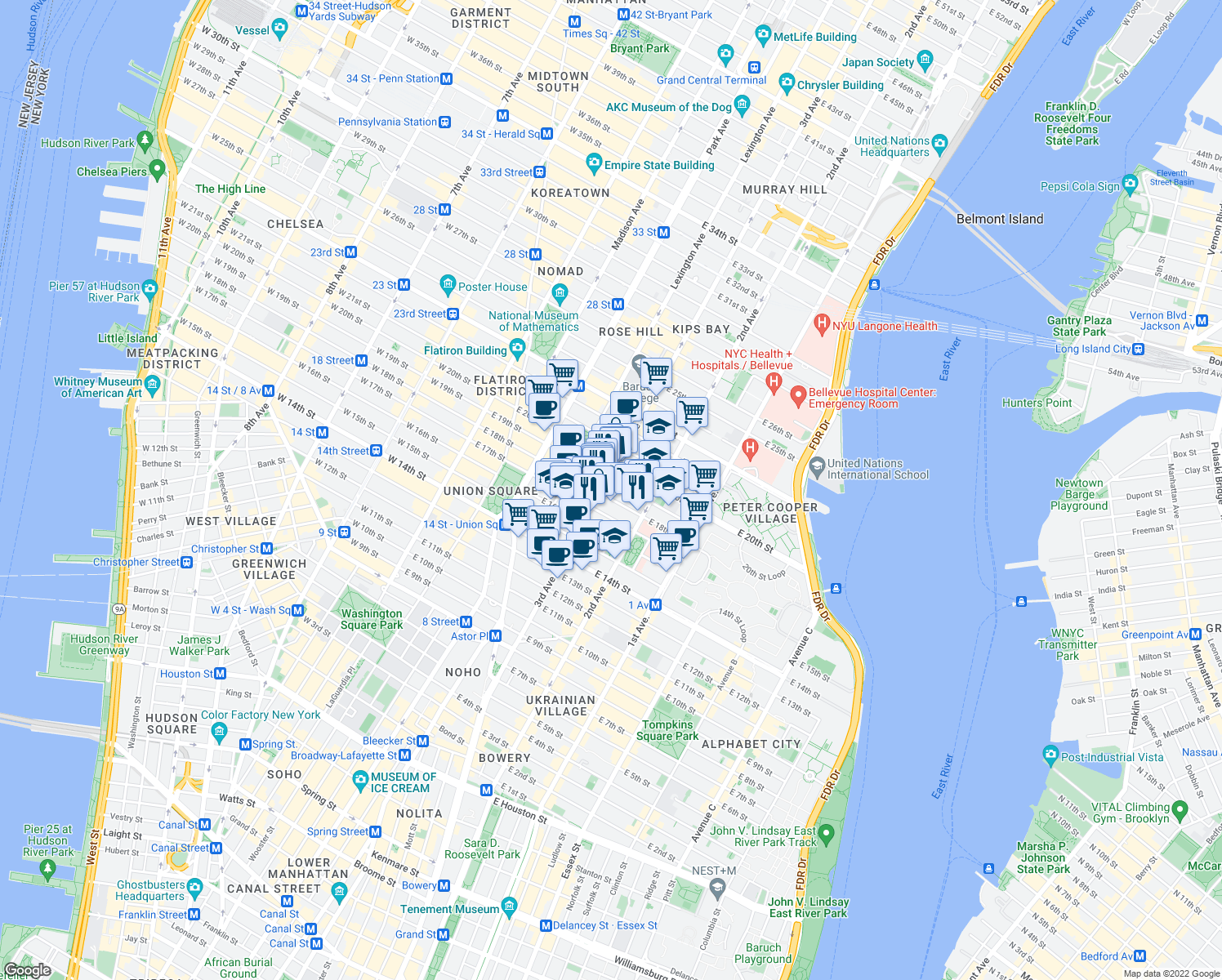 map of restaurants, bars, coffee shops, grocery stores, and more near 3rd Avenue in Franklin Square