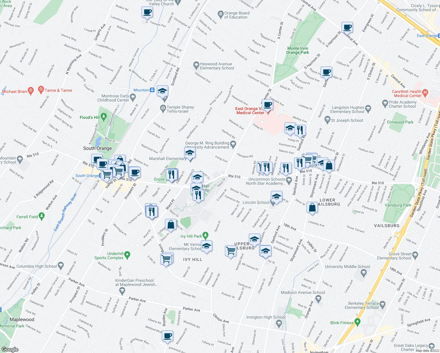 map of restaurants, bars, coffee shops, grocery stores, and more near 545 South Orange Avenue in South Orange