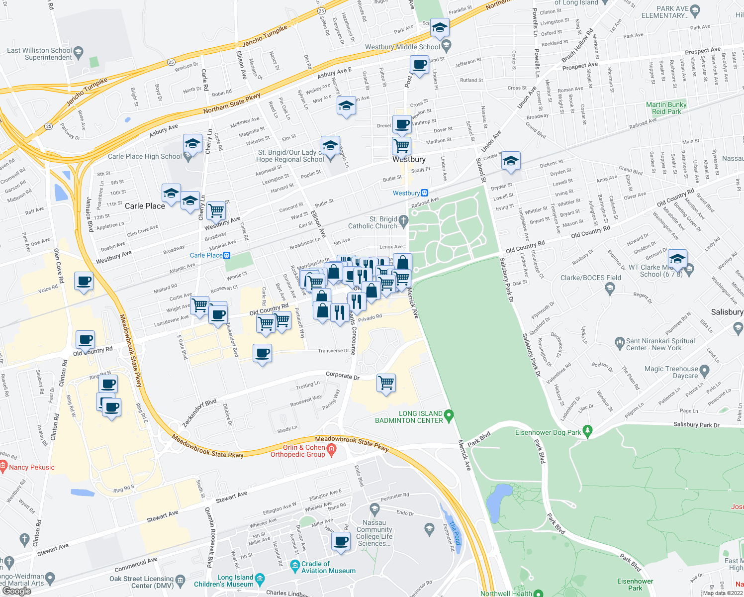 map of restaurants, bars, coffee shops, grocery stores, and more near 45 Pine St in Westbury