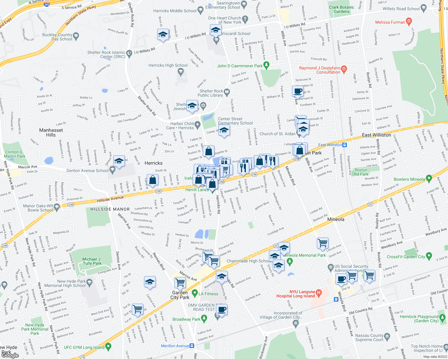 map of restaurants, bars, coffee shops, grocery stores, and more near 390 Hillside Avenue in Mineola