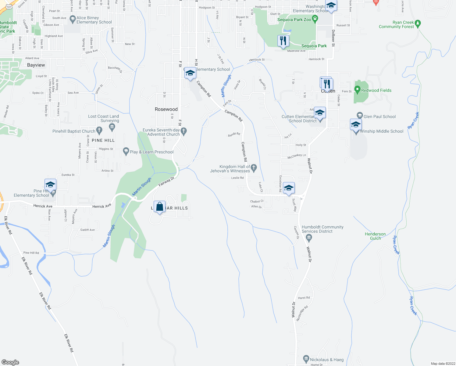map of restaurants, bars, coffee shops, grocery stores, and more near 1290 Leslie Road in Eureka