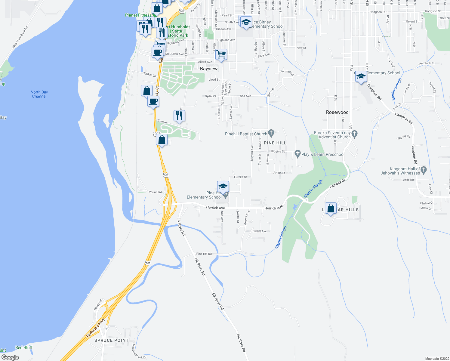 map of restaurants, bars, coffee shops, grocery stores, and more near 5064 Vance Street in Eureka