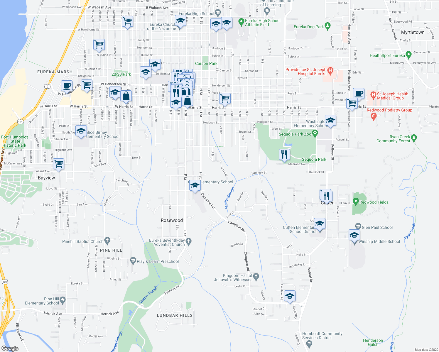 map of restaurants, bars, coffee shops, grocery stores, and more near 3708 J Street in Eureka