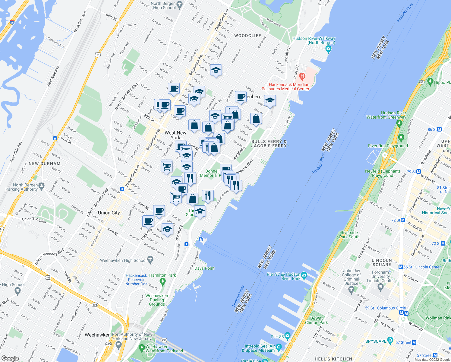map of restaurants, bars, coffee shops, grocery stores, and more near Port Imperial Boulevard in West New York