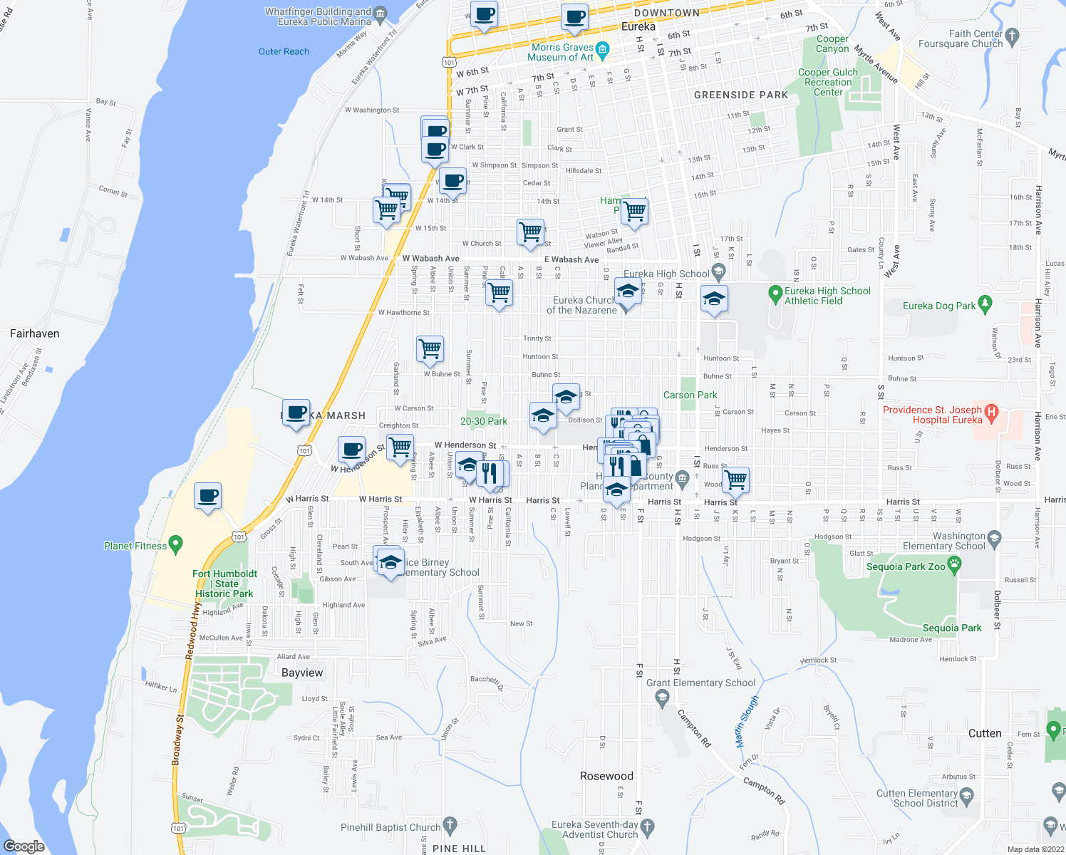 map of restaurants, bars, coffee shops, grocery stores, and more near 2714 B Street in Eureka