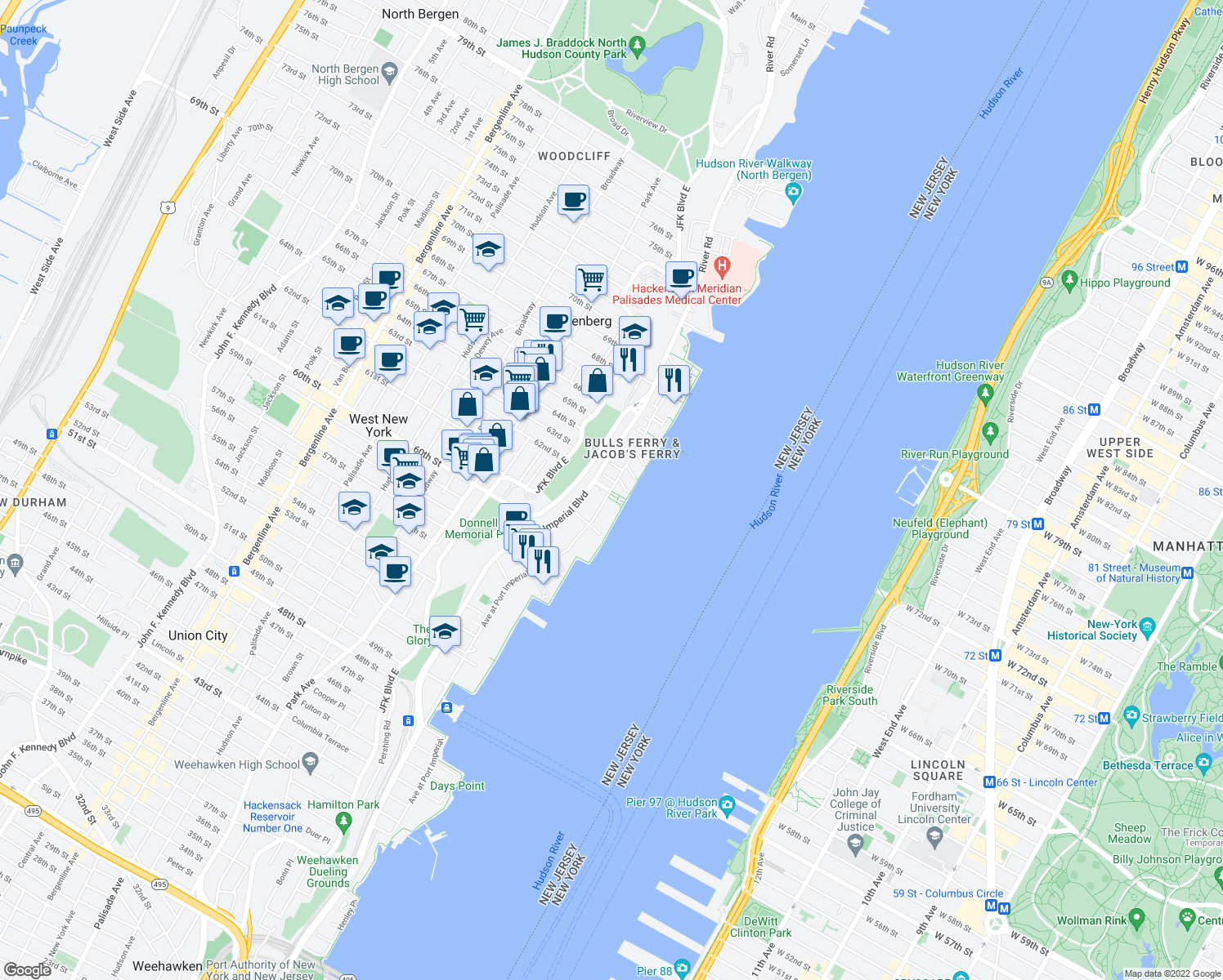 map of restaurants, bars, coffee shops, grocery stores, and more near 2 Avenue At Port Imperial in West New York