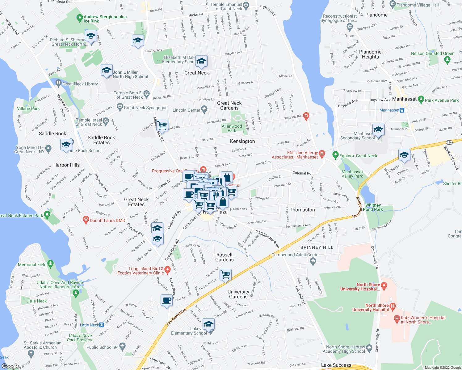 map of restaurants, bars, coffee shops, grocery stores, and more near 21 Canterbury Road in Great Neck