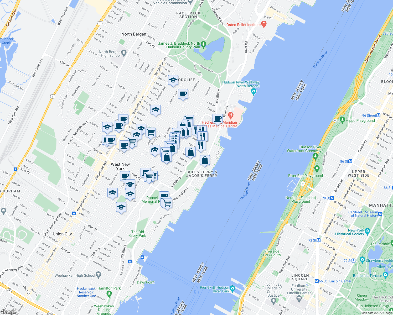 map of restaurants, bars, coffee shops, grocery stores, and more near 9 67th Street in West New York