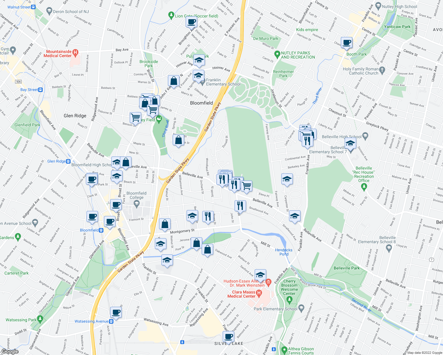 map of restaurants, bars, coffee shops, grocery stores, and more near 117 Davey Street in Bloomfield