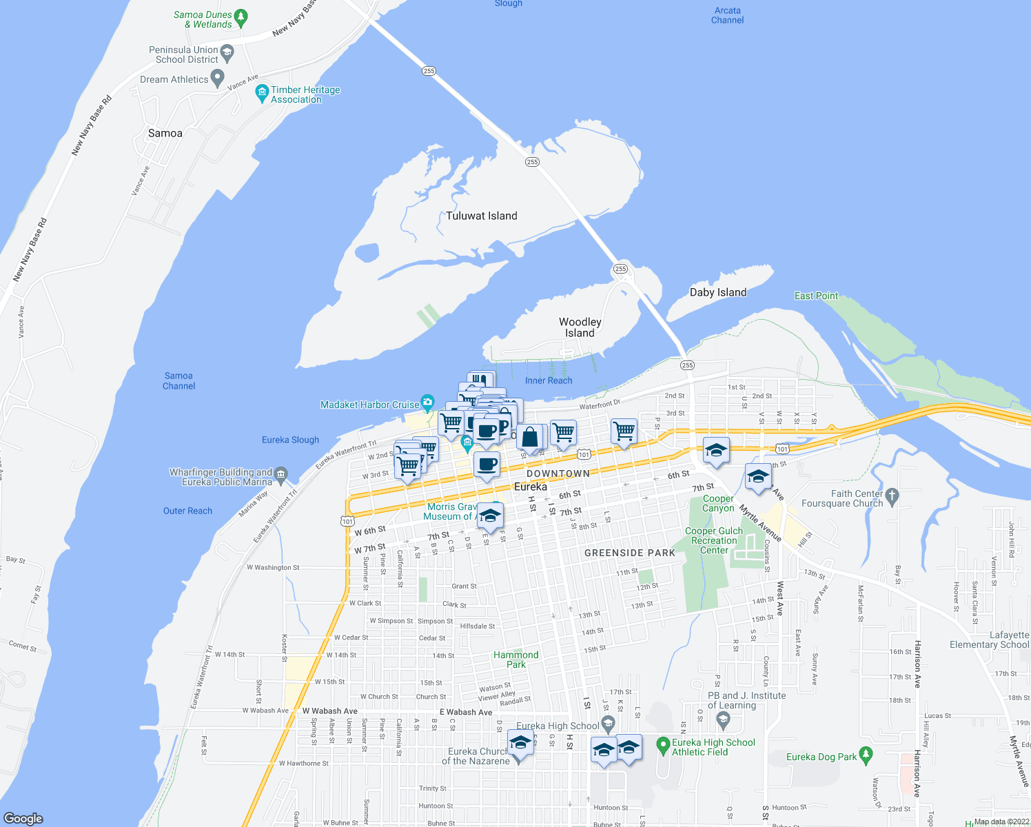 map of restaurants, bars, coffee shops, grocery stores, and more near 2 H Street in Eureka