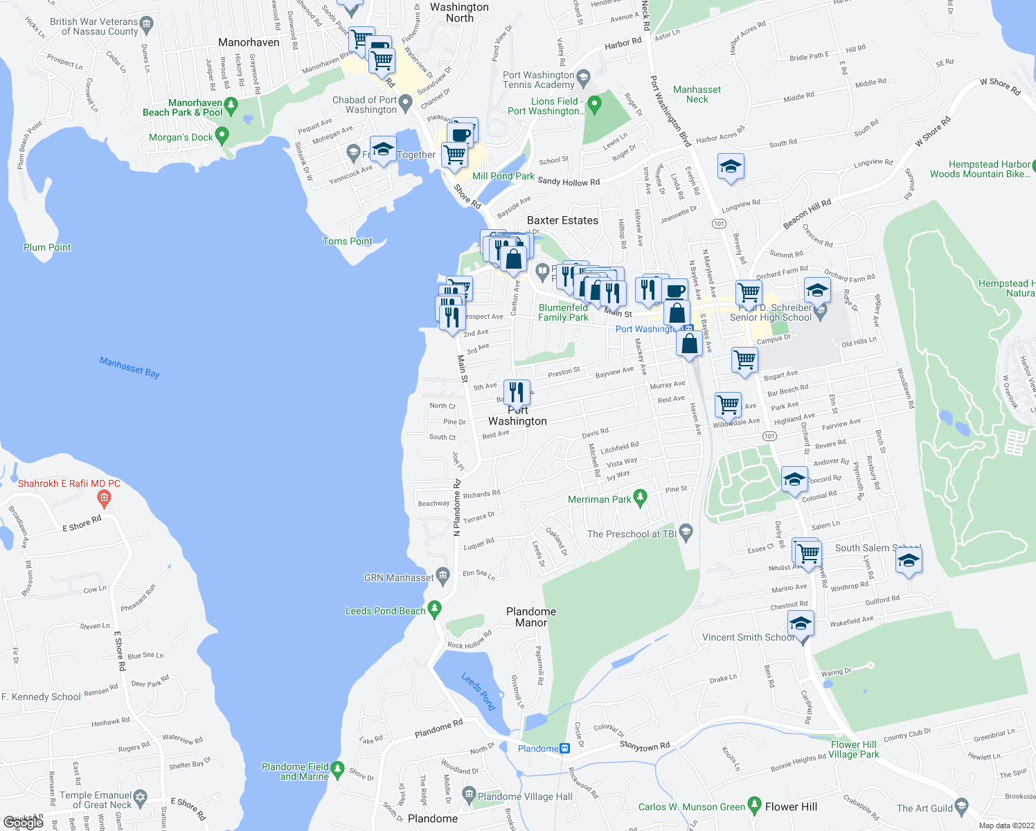 map of restaurants, bars, coffee shops, grocery stores, and more near in Port Washington