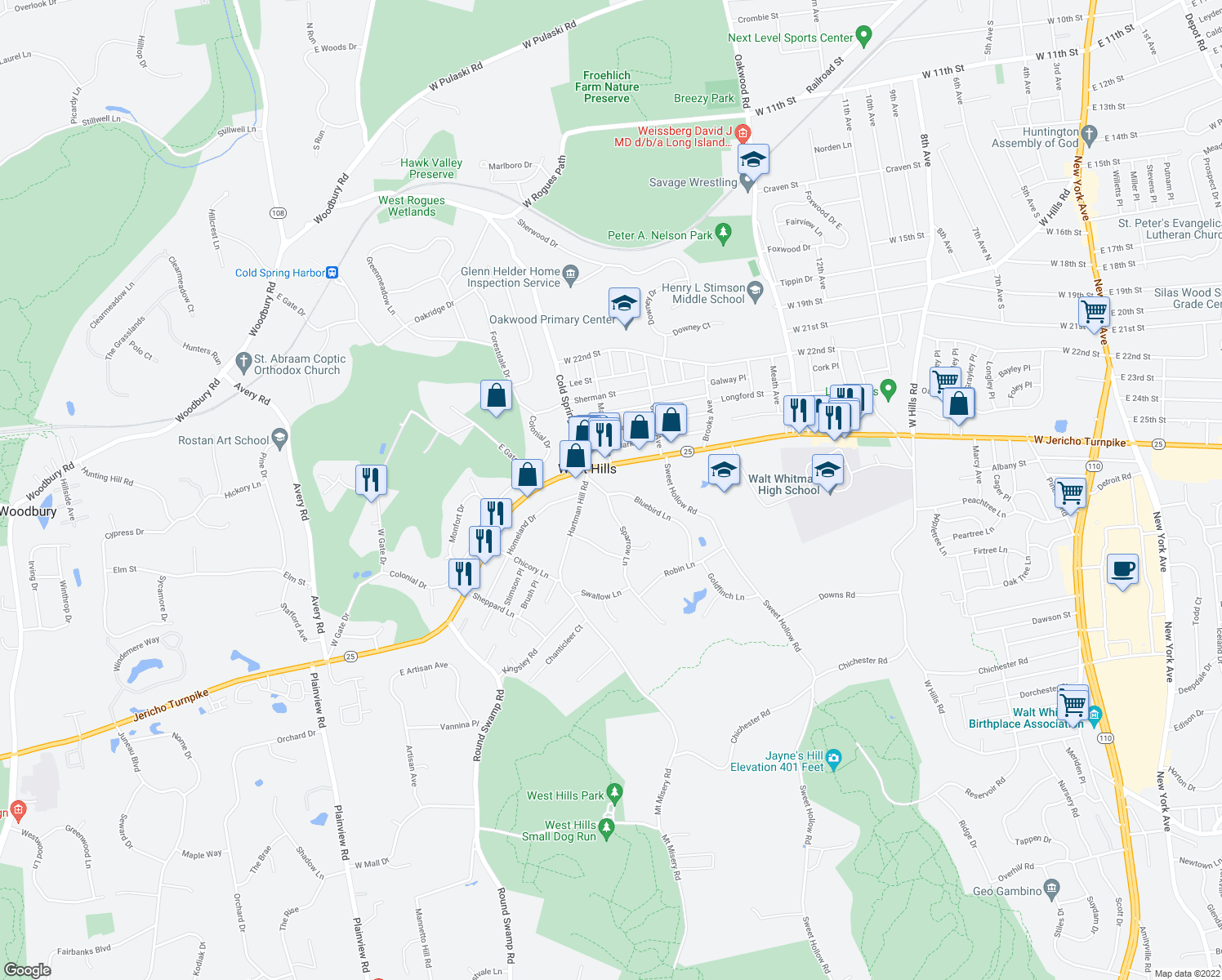 map of restaurants, bars, coffee shops, grocery stores, and more near 4A Bluebird Lane in Huntington