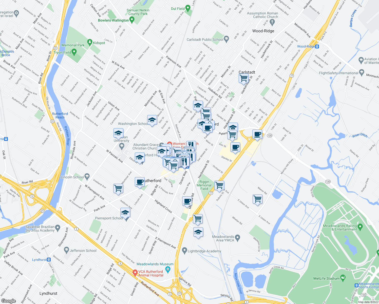 map of restaurants, bars, coffee shops, grocery stores, and more near 233 Park Avenue in East Rutherford