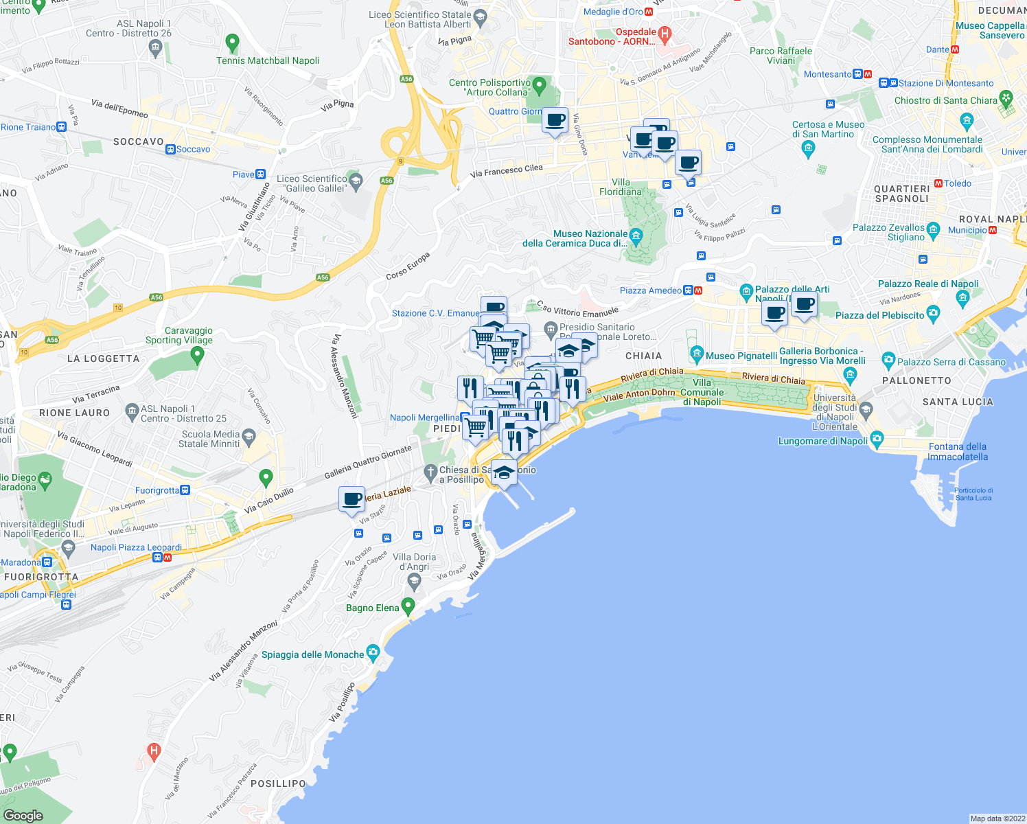 map of restaurants, bars, coffee shops, grocery stores, and more near 7 Via Piedigrotta in Naples