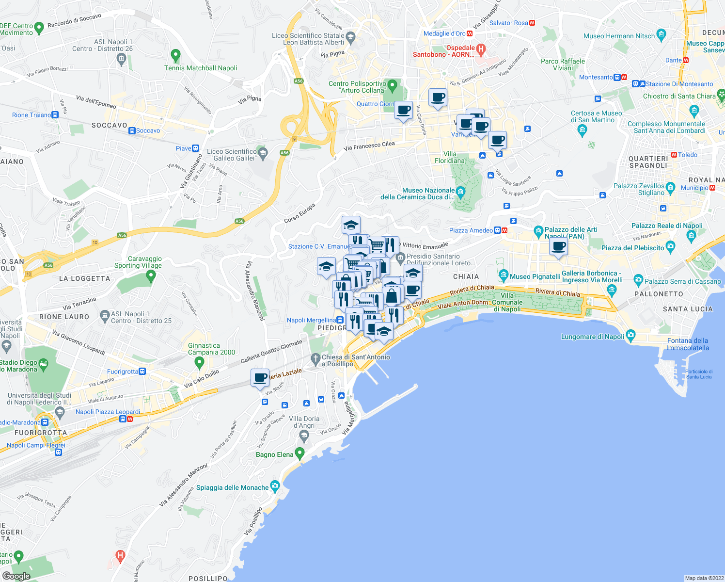 map of restaurants, bars, coffee shops, grocery stores, and more near 19 Salita Caiafa in Naples