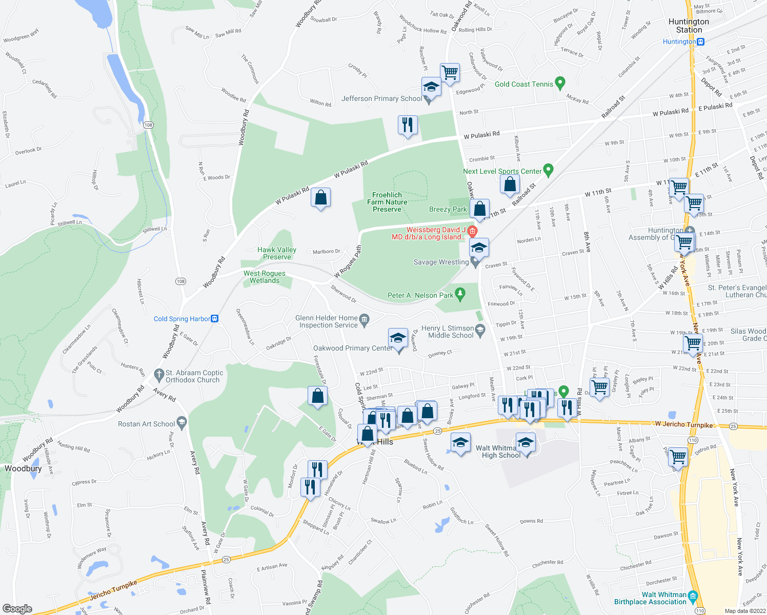 map of restaurants, bars, coffee shops, grocery stores, and more near 27 Sherwood Drive in Huntington