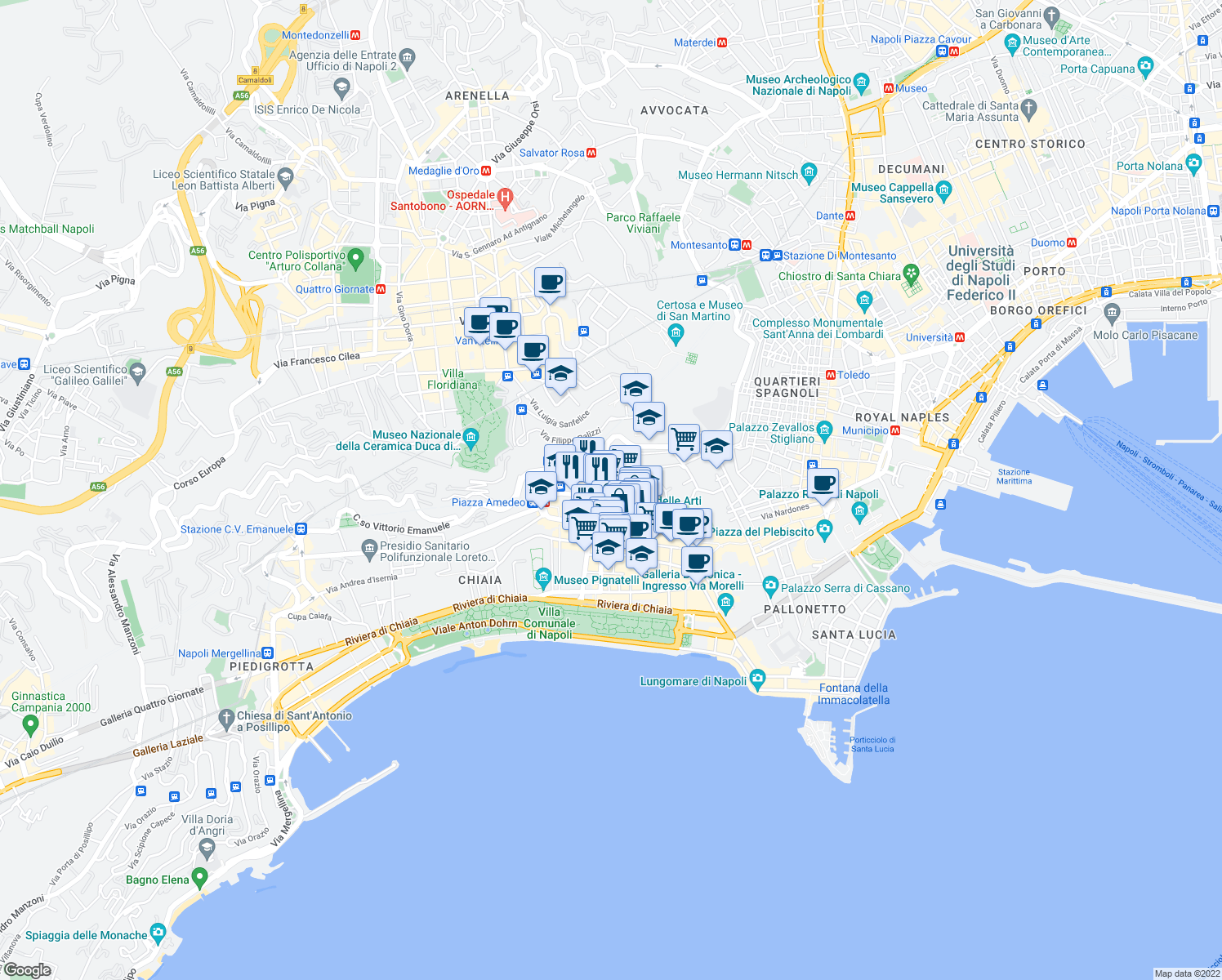 map of restaurants, bars, coffee shops, grocery stores, and more near 3-55 Vico Vasto a Chiaia in Naples