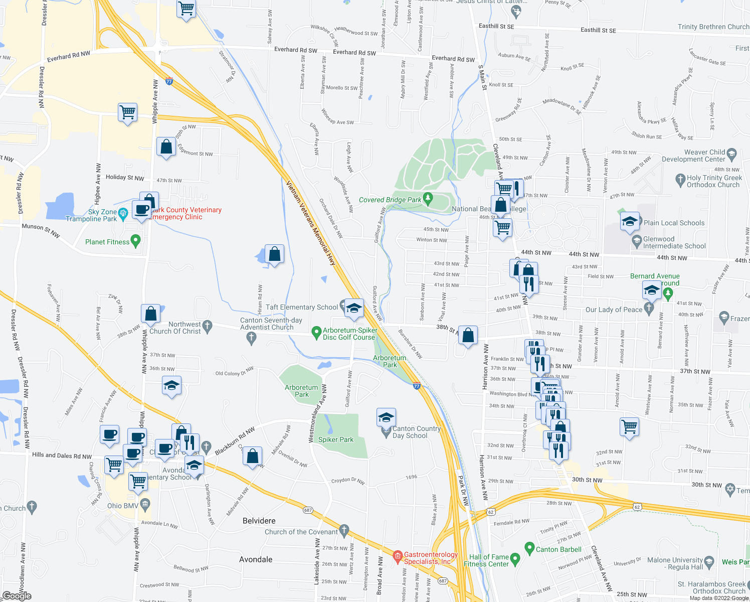 map of restaurants, bars, coffee shops, grocery stores, and more near West Branch Trail in Canton