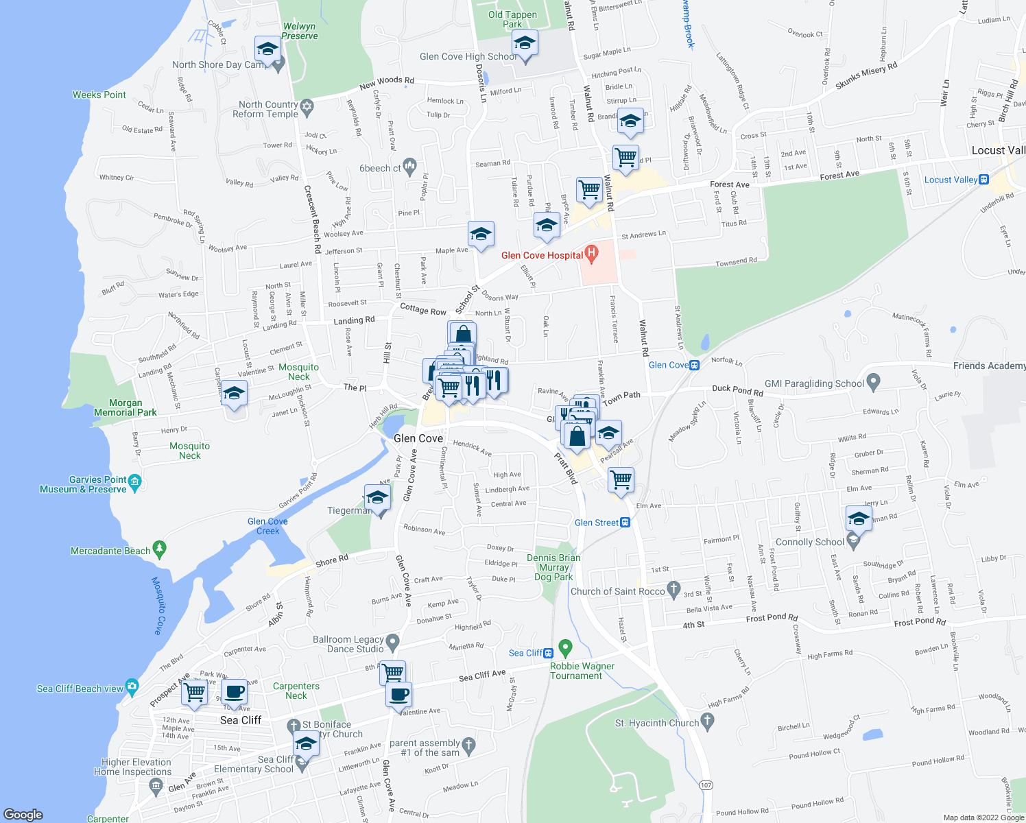 map of restaurants, bars, coffee shops, grocery stores, and more near 100 Glen Street in Glen Cove