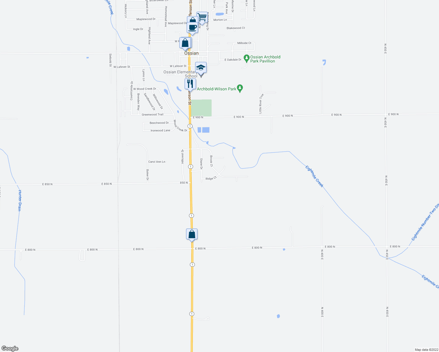 map of restaurants, bars, coffee shops, grocery stores, and more near 1730 Brook Court in Ossian