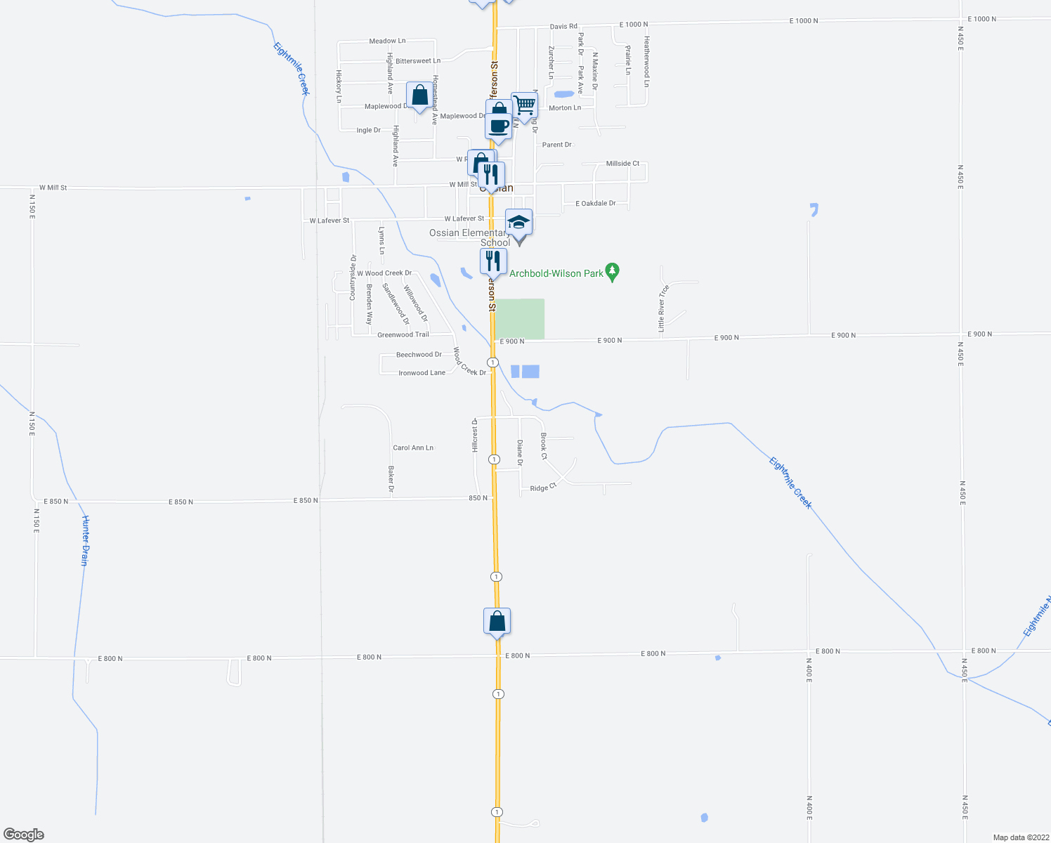 map of restaurants, bars, coffee shops, grocery stores, and more near 8745 East Diane Drive in Ossian