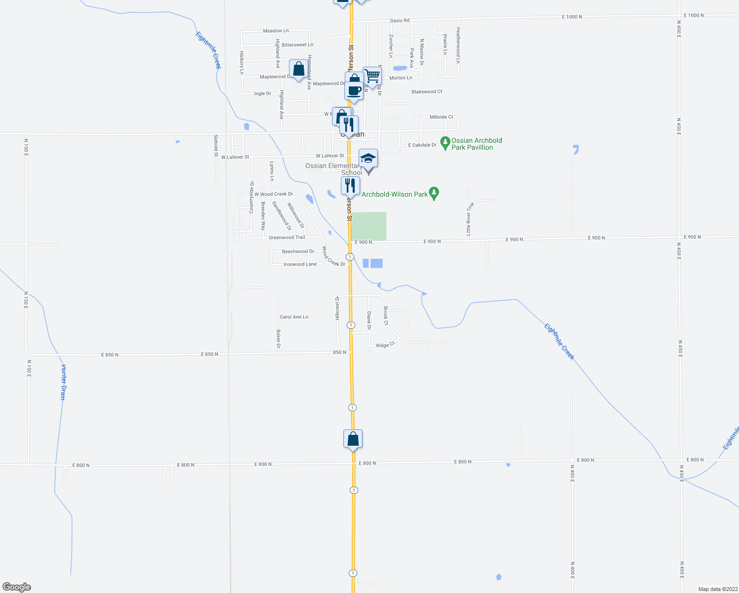 map of restaurants, bars, coffee shops, grocery stores, and more near Diane Drive in Ossian