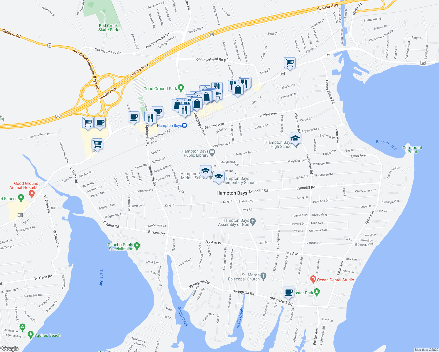 map of restaurants, bars, coffee shops, grocery stores, and more near 74-76 Ponquogue Avenue in Hampton Bays