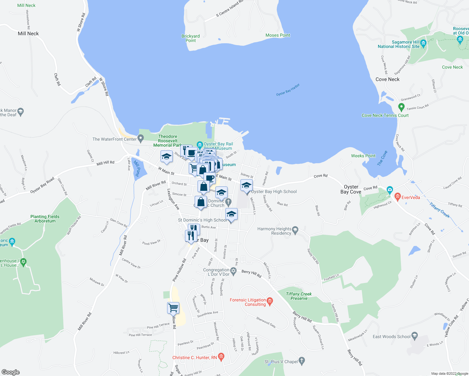 map of restaurants, bars, coffee shops, grocery stores, and more near 17 Anstice Street in Oyster Bay
