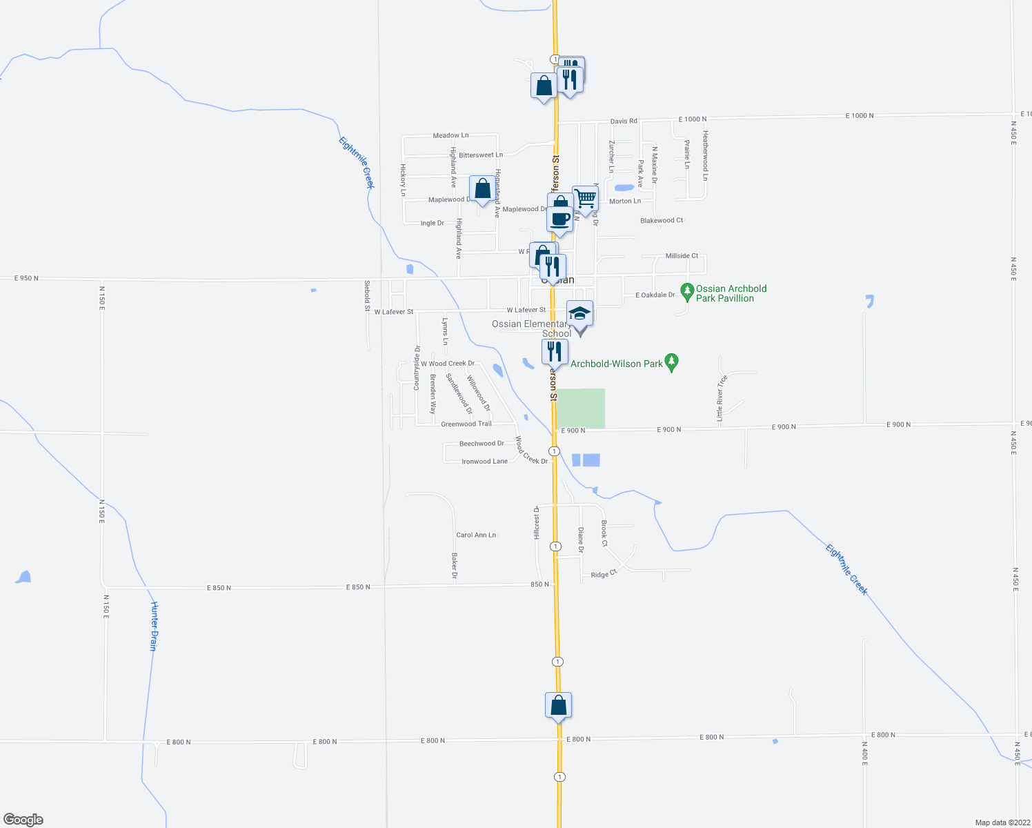 map of restaurants, bars, coffee shops, grocery stores, and more near 809 Wood Creek Drive in Ossian