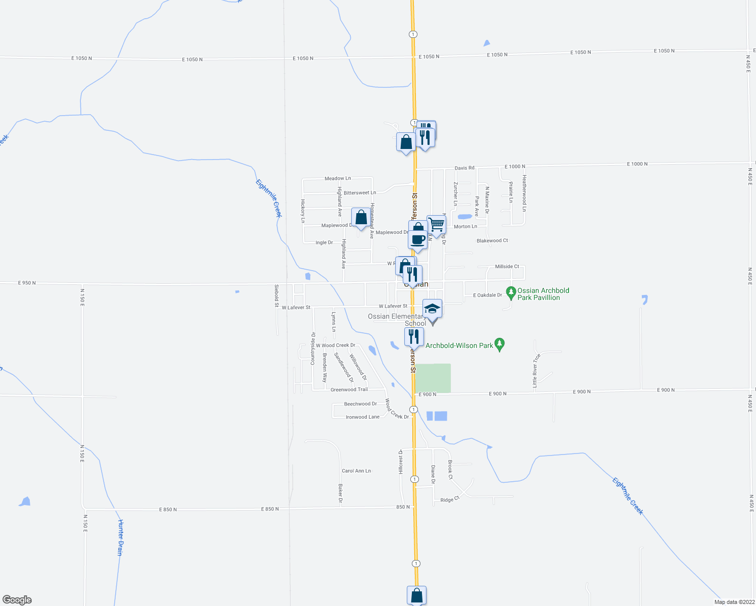 map of restaurants, bars, coffee shops, grocery stores, and more near 308 West Lafever Street in Ossian