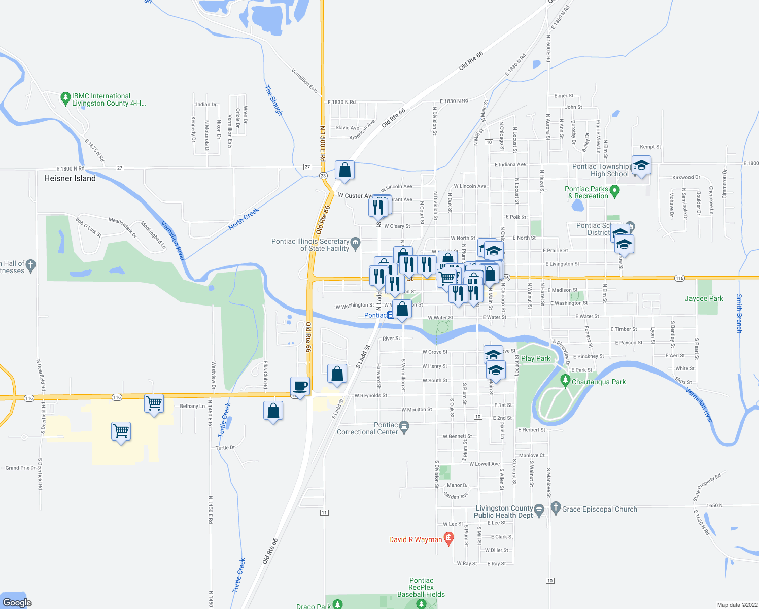 map of restaurants, bars, coffee shops, grocery stores, and more near 200-298 North Ladd Street in Pontiac