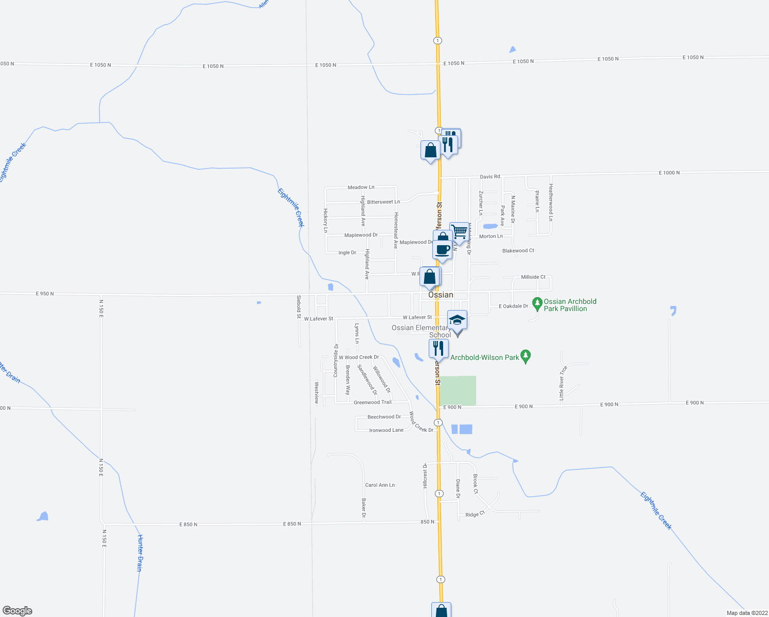 map of restaurants, bars, coffee shops, grocery stores, and more near 106 Church Street in Ossian