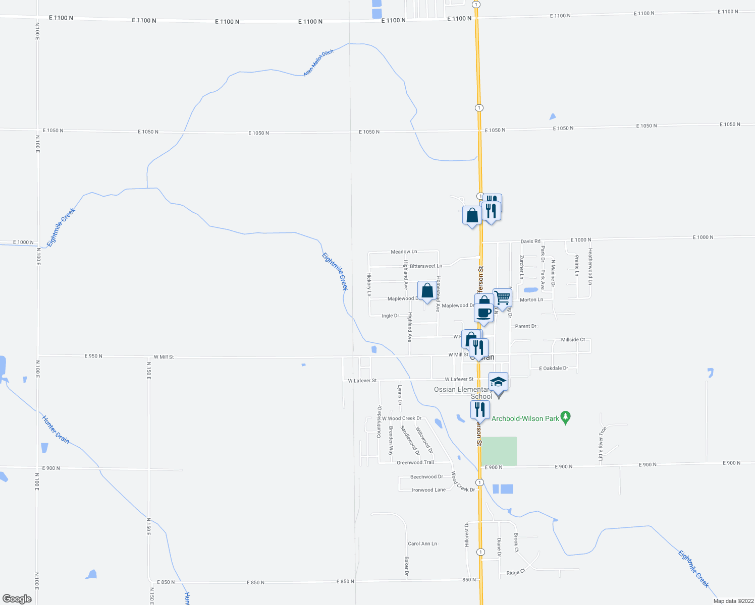 map of restaurants, bars, coffee shops, grocery stores, and more near 617 Maplewood in Ossian