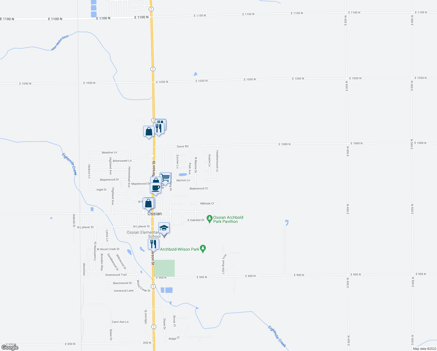 map of restaurants, bars, coffee shops, grocery stores, and more near 610 Heatherwood Lane in Ossian