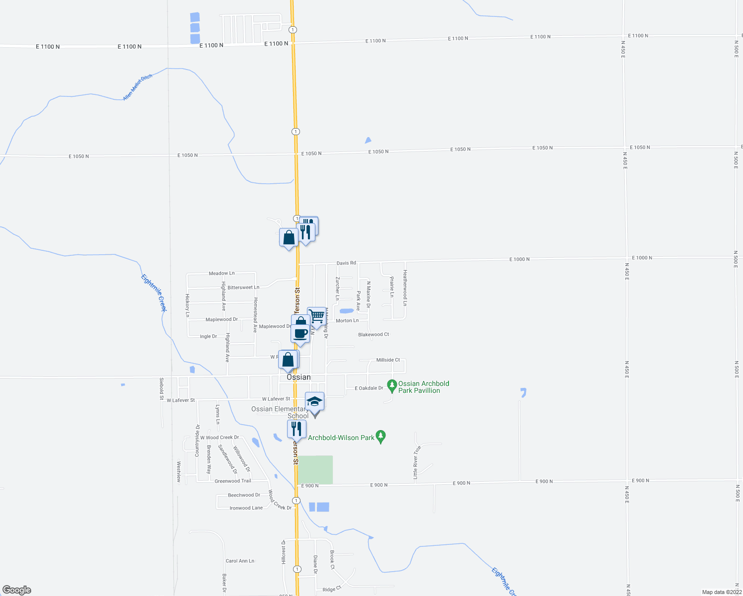 map of restaurants, bars, coffee shops, grocery stores, and more near 702 North Maxine Drive in Ossian