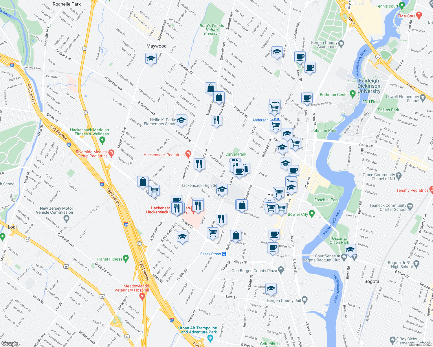 map of restaurants, bars, coffee shops, grocery stores, and more near 287-311 American Legion Drive in Hackensack