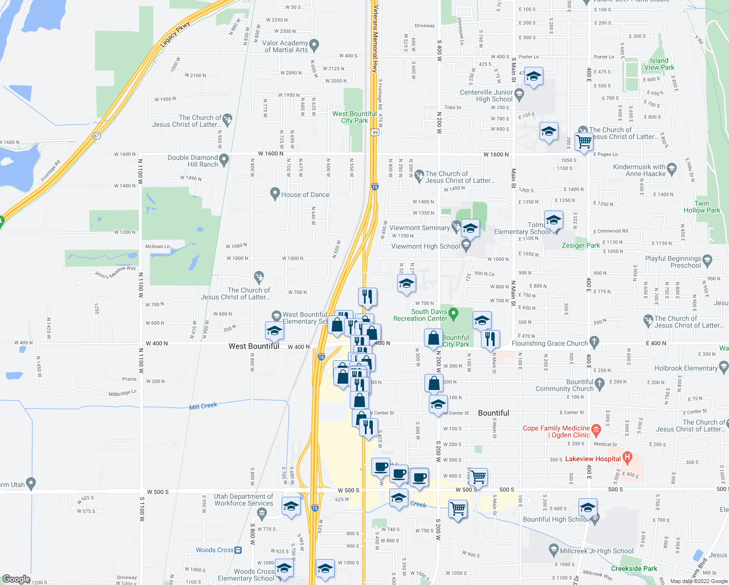 map of restaurants, bars, coffee shops, grocery stores, and more near 755N North 500 West in Bountiful