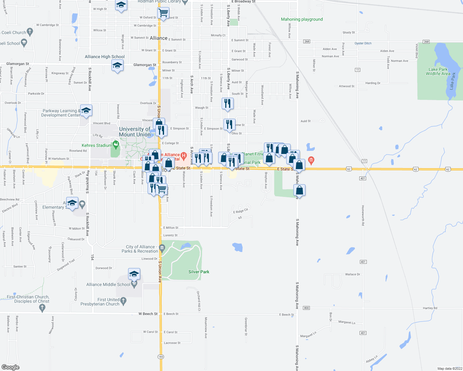map of restaurants, bars, coffee shops, grocery stores, and more near 2004 South Liberty Avenue in Alliance