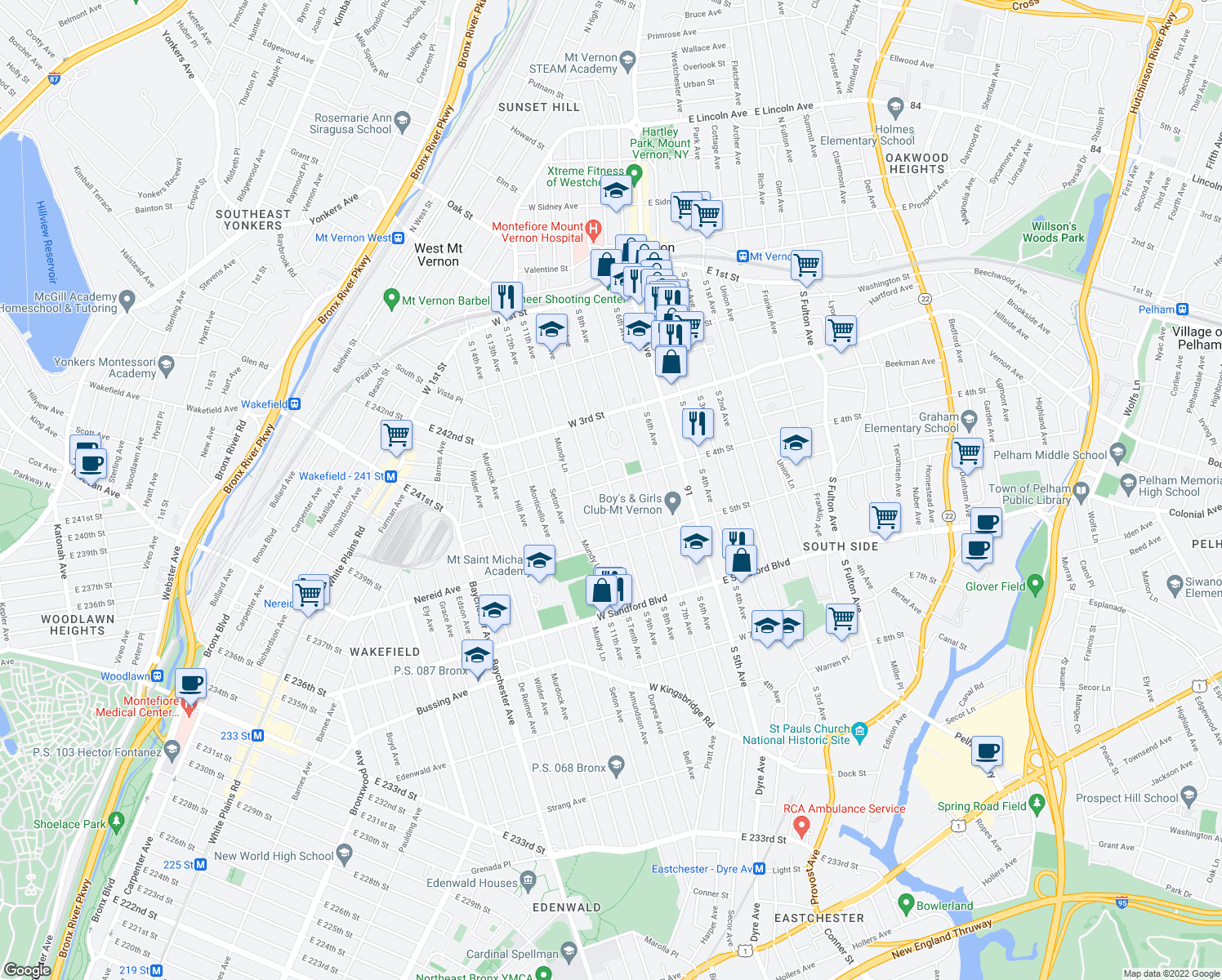 map of restaurants, bars, coffee shops, grocery stores, and more near S 9th Ave in Mt Vernon