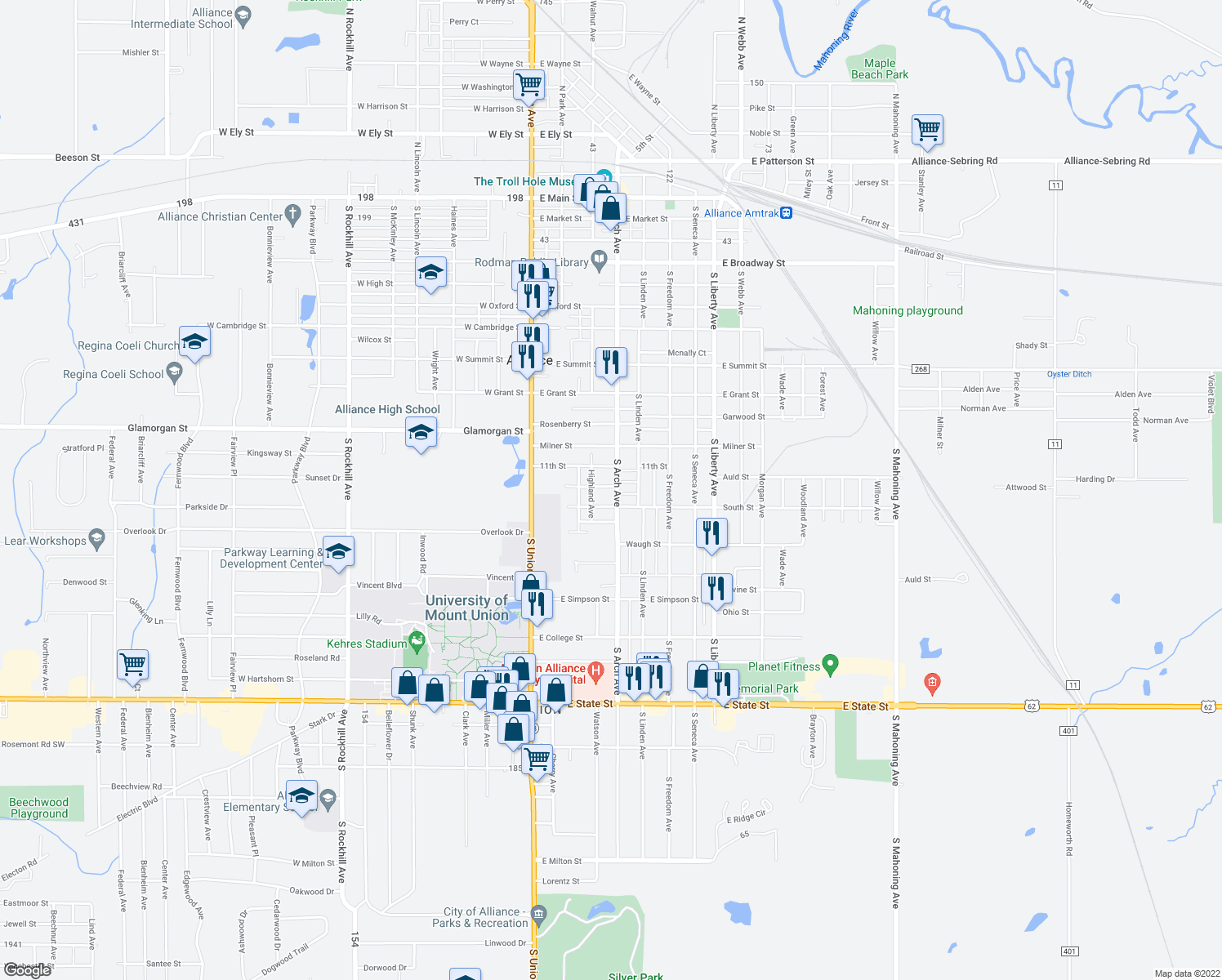 map of restaurants, bars, coffee shops, grocery stores, and more near 1205 South Arch Avenue in Alliance