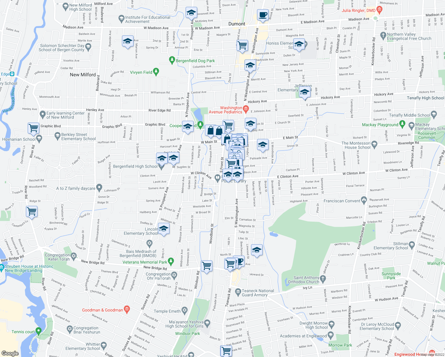 map of restaurants, bars, coffee shops, grocery stores, and more near 52 Delford Avenue in Bergenfield