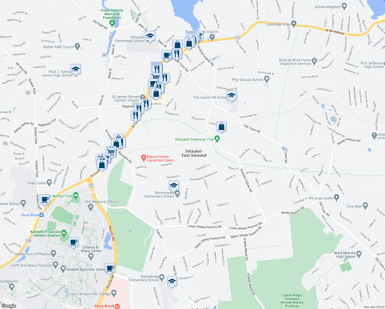 map of restaurants, bars, coffee shops, grocery stores, and more near 4 Waterloo Lane in Setauket- East Setauket