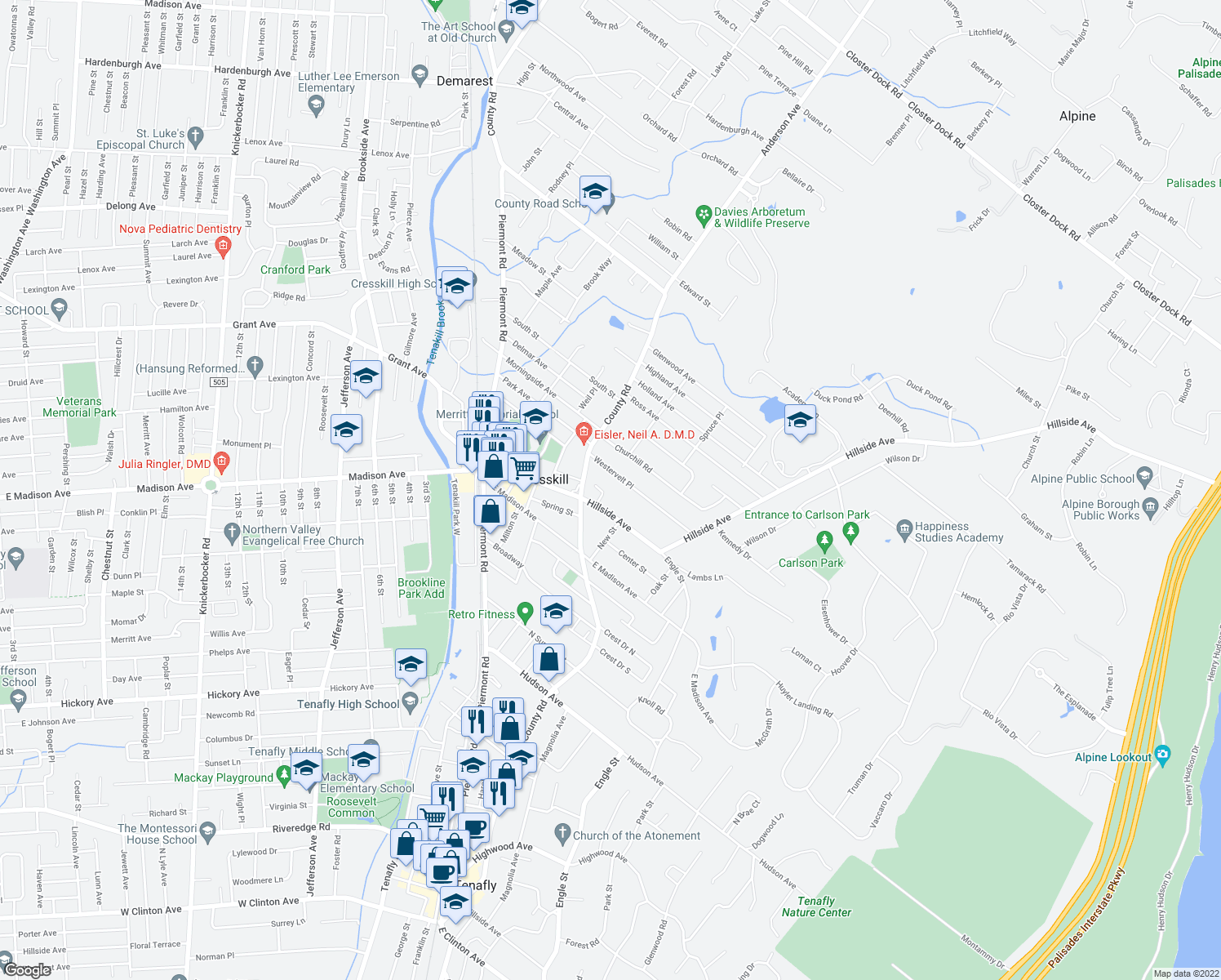 map of restaurants, bars, coffee shops, grocery stores, and more near 20 Michele Court in Cresskill
