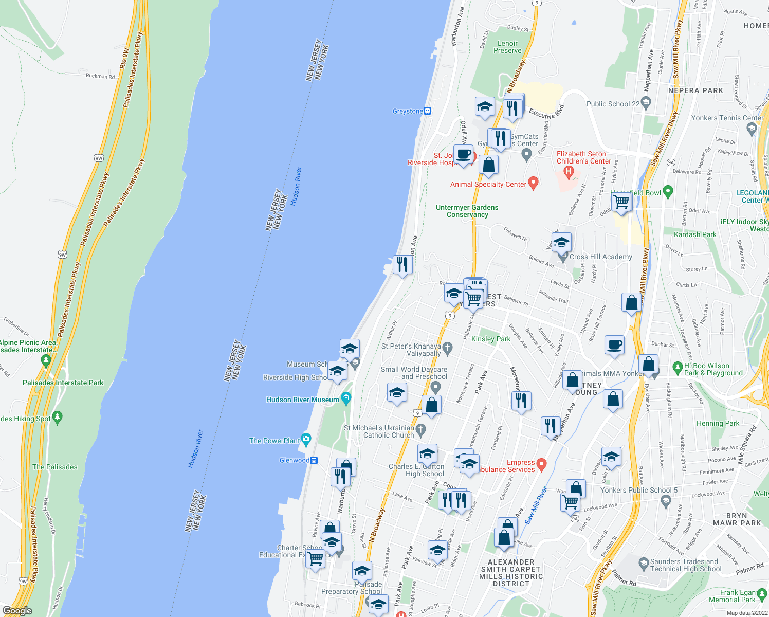 map of restaurants, bars, coffee shops, grocery stores, and more near Warburton Ave & Arthur St in Yonkers