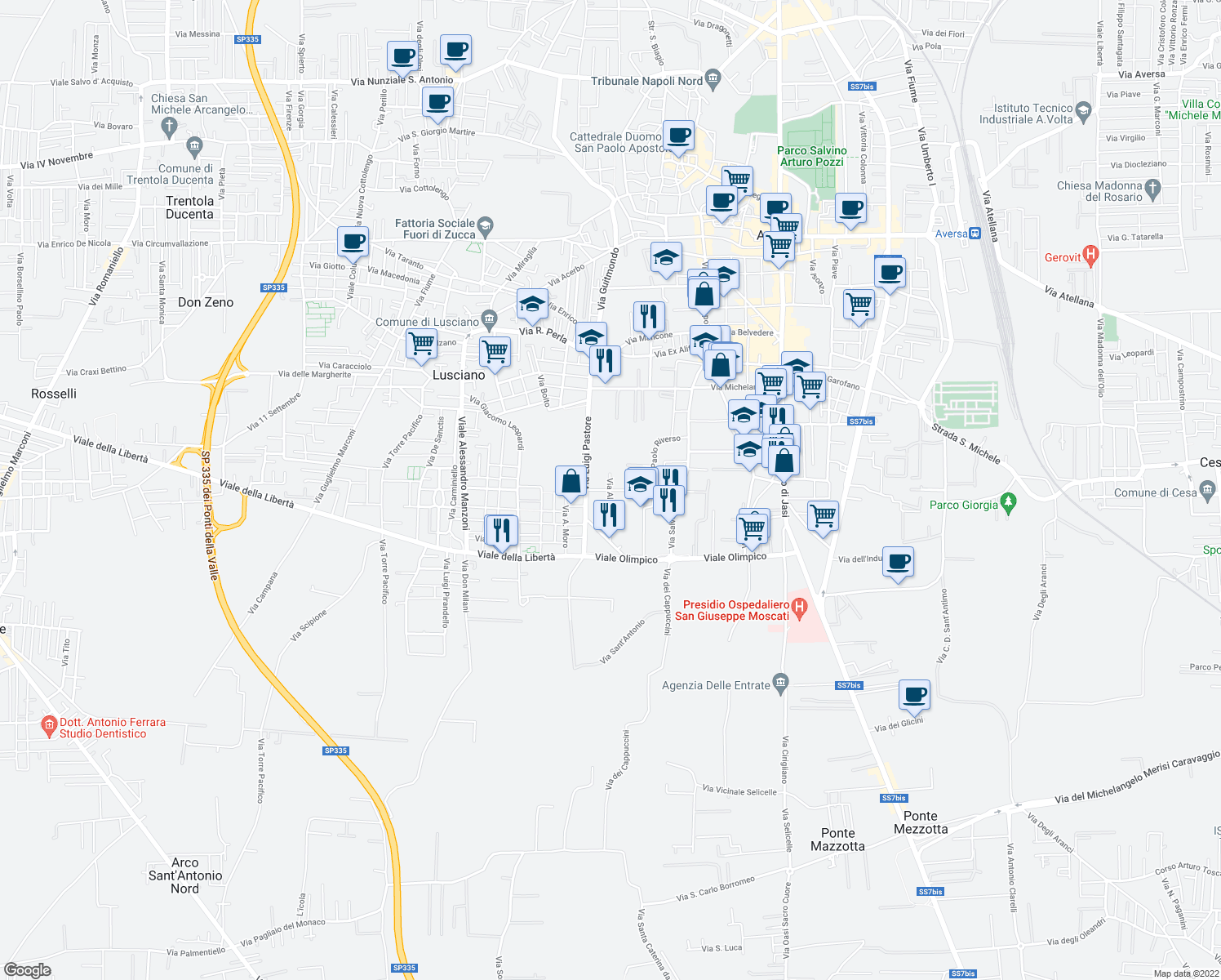 map of restaurants, bars, coffee shops, grocery stores, and more near Via Guido Rossa in Aversa