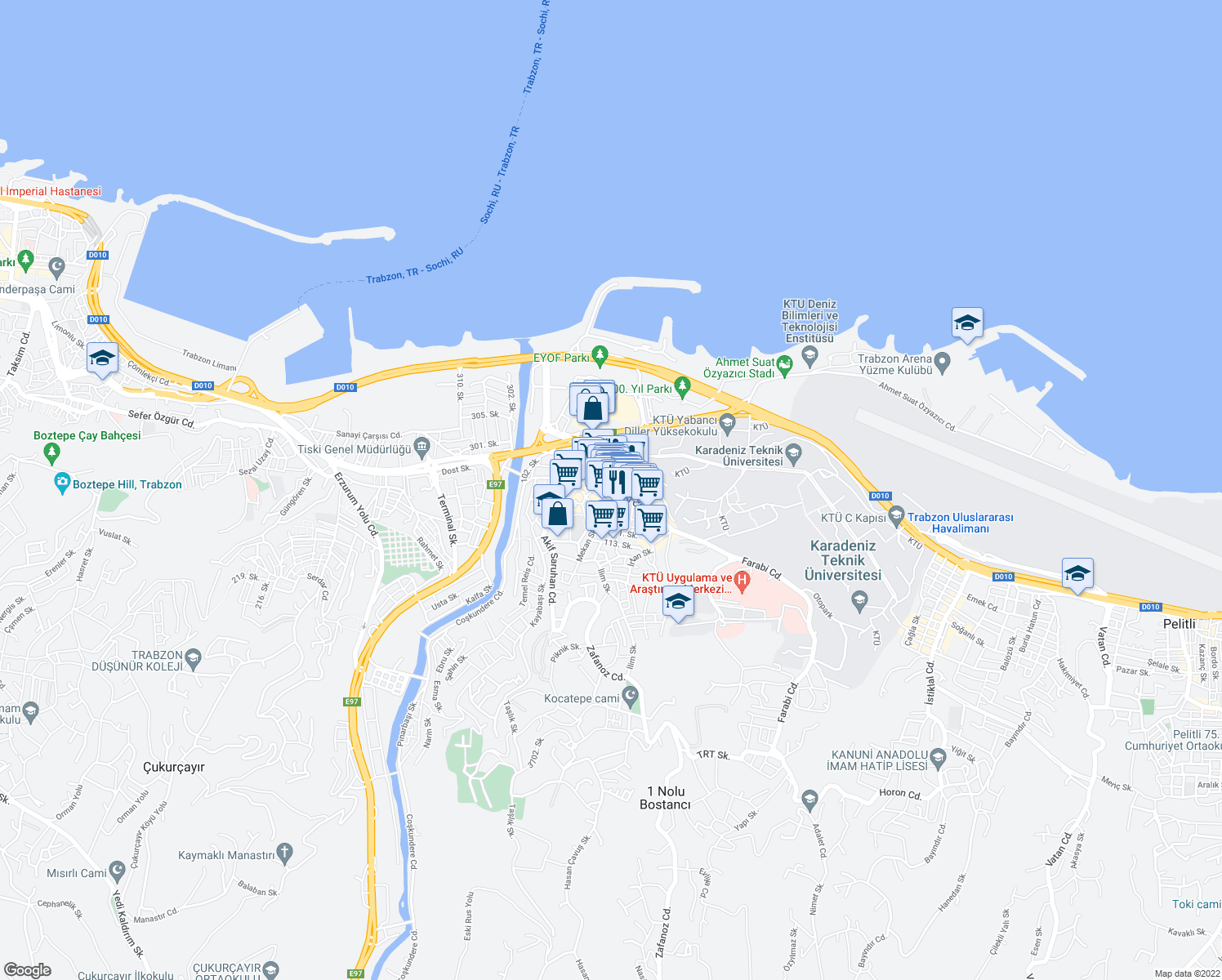 map of restaurants, bars, coffee shops, grocery stores, and more near 15 Farabi Caddesi in Trabzon