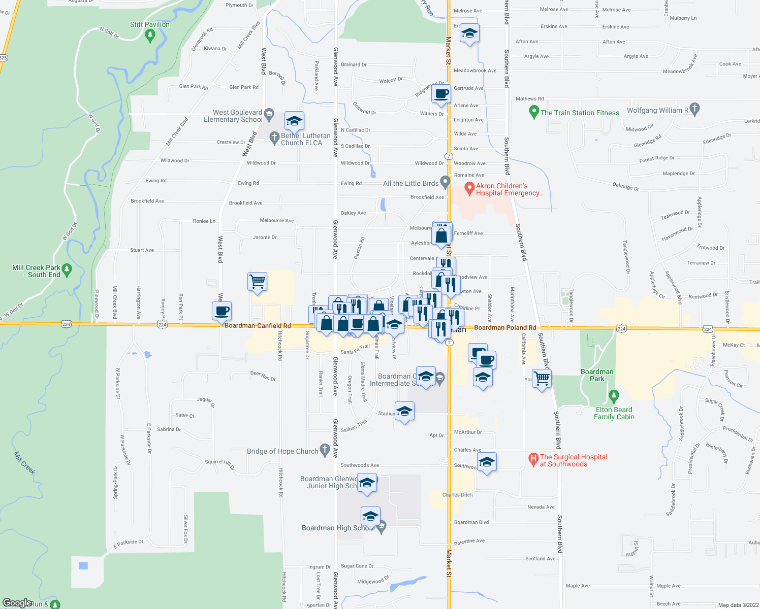 map of restaurants, bars, coffee shops, grocery stores, and more near 7145 Locust Ave in Boardman