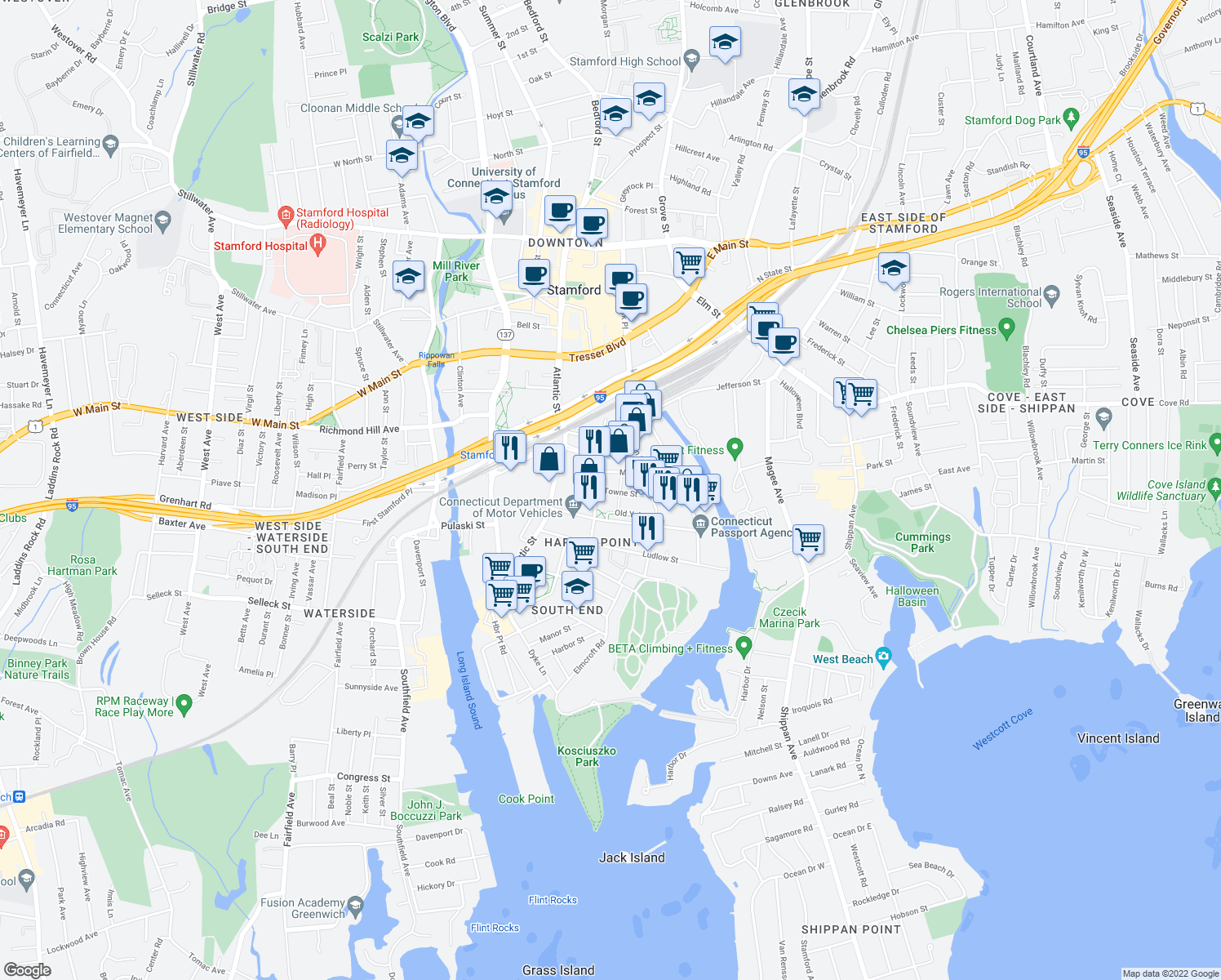 map of restaurants, bars, coffee shops, grocery stores, and more near 110 Towne Street in Stamford