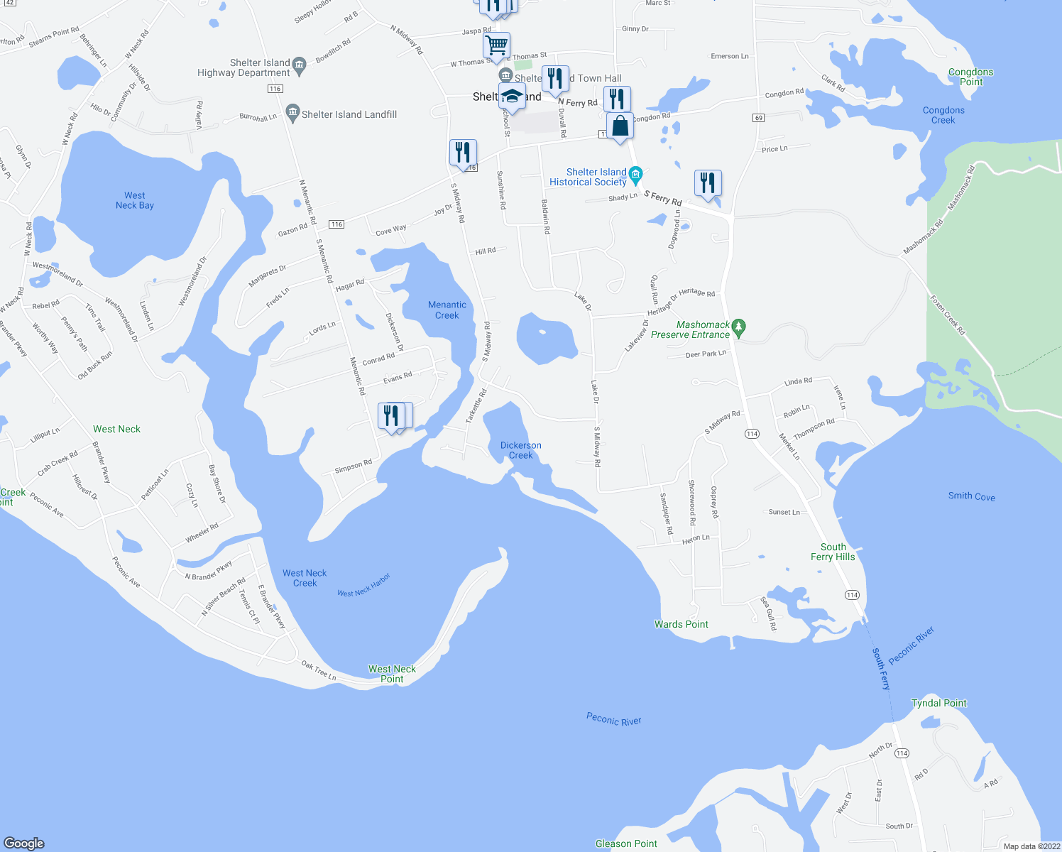 map of restaurants, bars, coffee shops, grocery stores, and more near 72 South Midway Road in Shelter Island